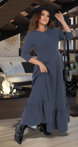 Платье с оборкой в полоску № 40881