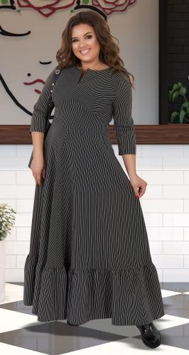 Платье с оборкой в полоску № 40881,чёрное