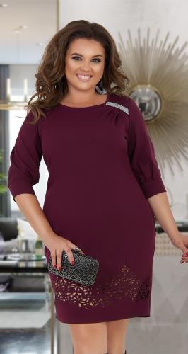 Нарядное платье цвета бордо с кристаллами № 347931