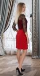 Красивое платье № 4020 , красное с чёрным