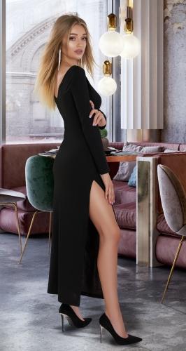Стильное длинное платье с разрезом № 3896