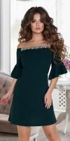 Красивое короткое платье № 37883,изумрудное
