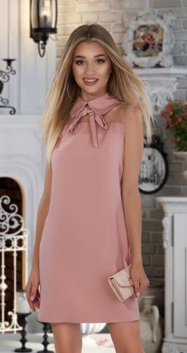 Свободное платье № 3611,пудровое