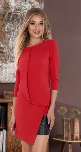 Красное платье с эко-кожей  № 3000