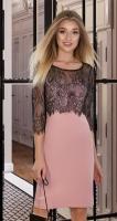 Красивое платье № 4020 , пудра с чёрным