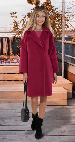 Кашемировое пальто с воротником № 3995 , фуксия