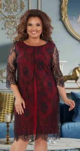"""Нарядное платье из """"Французского"""" гипюра № 39941,черно-бордовое"""