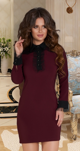 Платье № 3650N марсала
