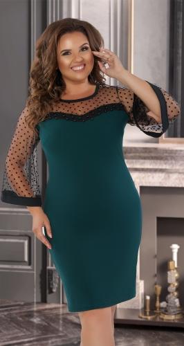 Красивое платье с жемчужинами № 38541,изумрудное
