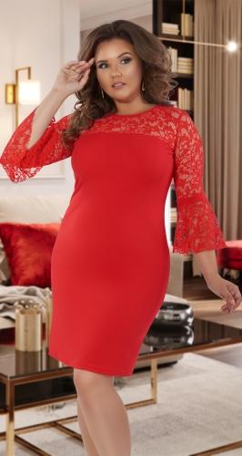 Нарядное  платье с необычными кружевными рукавами № 3910,красное