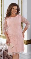 """Нарядное платье из """"Французского"""" гипюра № 39941, цвета пудры"""