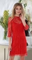 Красивое гипюровое платье-двойка № 4037 ,красное