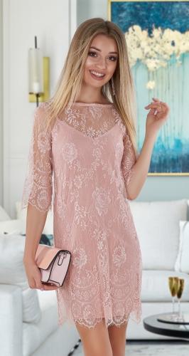 Красивое гипюровое платье-двойка № 4037 , цвета пудры
