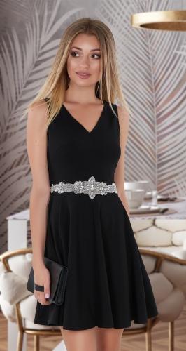 Лаконичное платье с расклешенной юбкой № 3963 , чёрное
