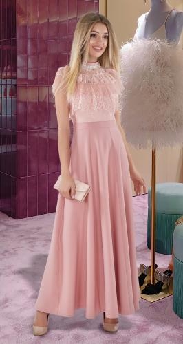 Платье в пол № 4050 , пудра