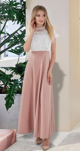 Платье в пол № 4050 , белое с бежевым