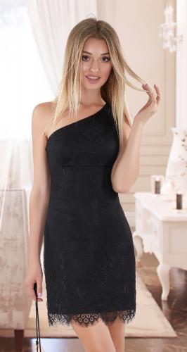 Асимметричное гипюровое платье № 4014,чёрное