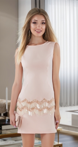 Стильное платье  № 4044, пудра