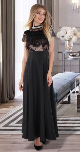 Платье в пол № 4050 , чёрное