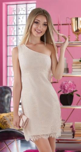 Асимметричное гипюровое платье № 4014,золотистое