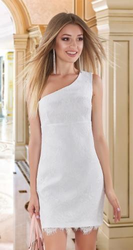 Асимметричное гипюровое платье № 4014,белое