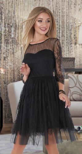 Гипюровое чёрное платье-пачка  № 4059