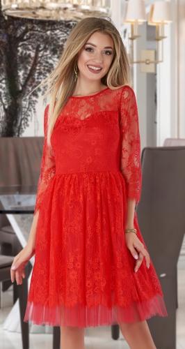 Гипюровое красное платье № 4059