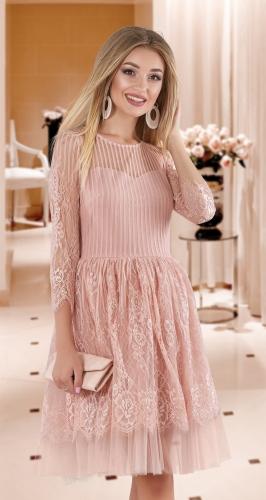 Гипюровое пудровое платье-пачка  № 4059