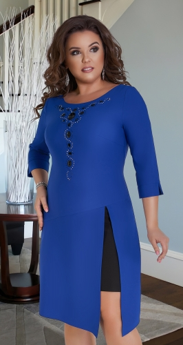 Восхитительное платье № 14961, ярко синее