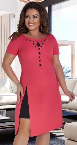 Восхитительное платье № 16581,коралловое