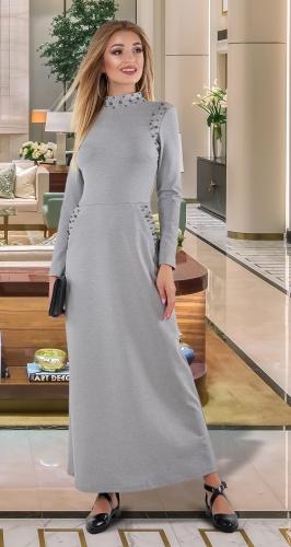 Длинное платье с жемчугом № 4055,меланжевое