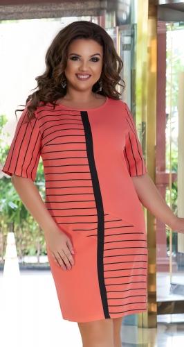Стильное короткое платье № 39571,коралловое