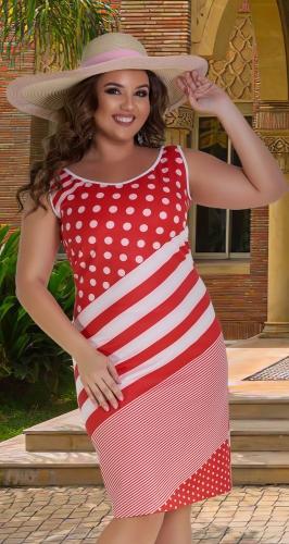 Полосатое платье без рукава № 1330,красное