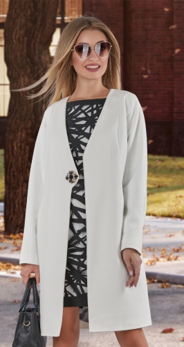 Кашемировое пальто № 4013 , белое