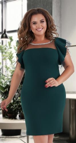 Короткое нарядное платье № 39851 , изумрудное