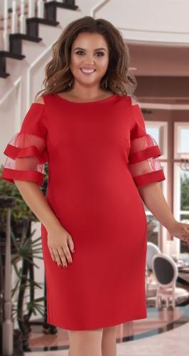Платье с красивыми рукавчиками № 396431,красное