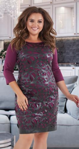 Короткое платье с эко-кожей № 35241 , бордо