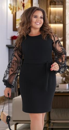 Короткое чёрное платье с поясом и красивыми рукавами № 39521
