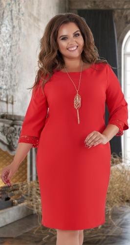 Свободное платье с красивыми рукавчиками № 3250 , красное