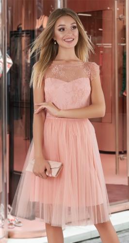 Нарядное платье-пачка № 4001 , пудровое