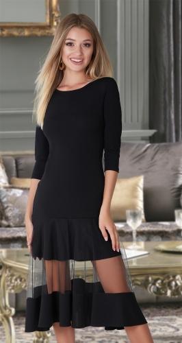 Эффектное платье МИДИ № 3433 , чёрное