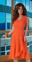 Платье с v-вырезом и оборками № 3933,оранжевое