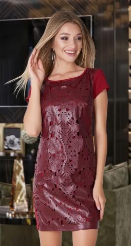 Ажурное платье с эко-кожей № 3157,бордовое