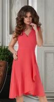 Платье с v-вырезом и оборками № 3933,коралловое