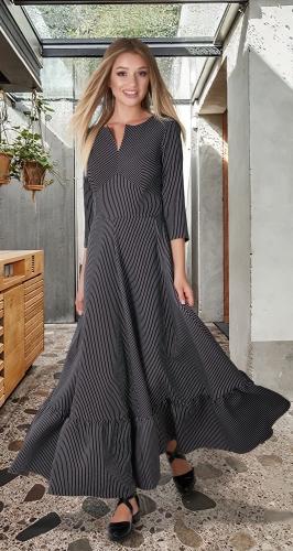 Платье с оборкой в полоску № 4088