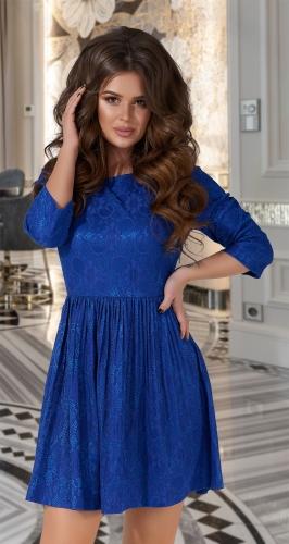 Нежное кружевное платье  № 1744,ярко синее