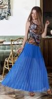 Длинная юбка гофре № 236, ярко синяя