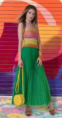 Длинная юбка гофре № 236, зелёная