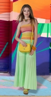 Длинная юбка гофре № 236, салатовая