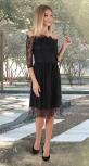 Гипюровое платье с открытыми плечиками № 3937,чёрное